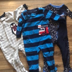 Bundle of three toddler footed pajamas